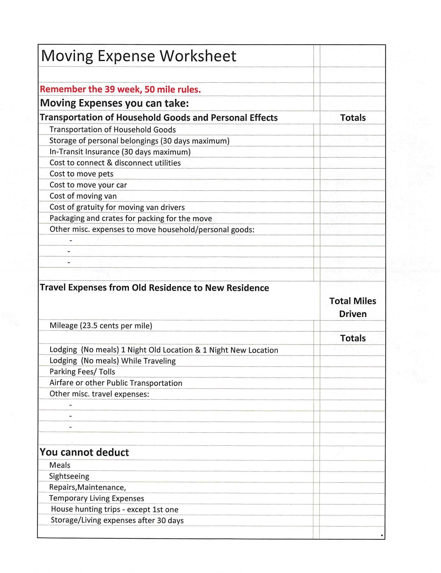 Worksheets Expense Worksheet moving expense worksheet tnt bookkeeping taxes 2015